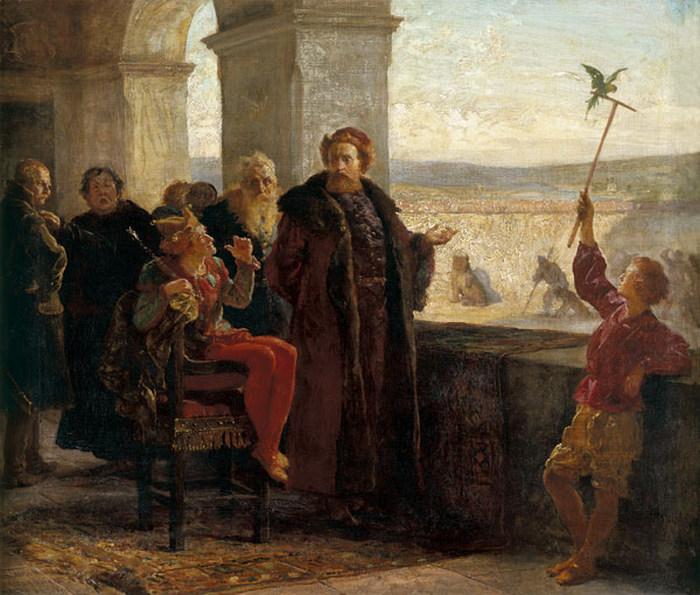 Piąty syn Kazimierza Jagiellończyka Zygmunt i błazen Stańczyk na obrazie Wojciecha Gersona (domena publiczna).