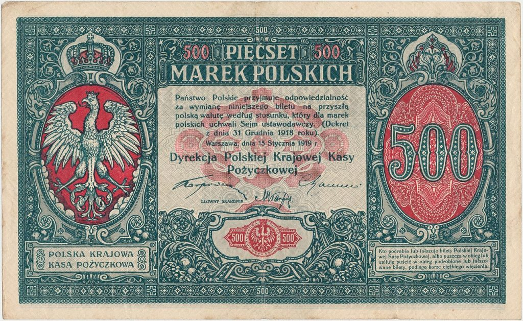 500 marek polskich z 1919 roku (Gabinet Numizmatyczny Damian Marciniak/CC BY-SA 4.0).