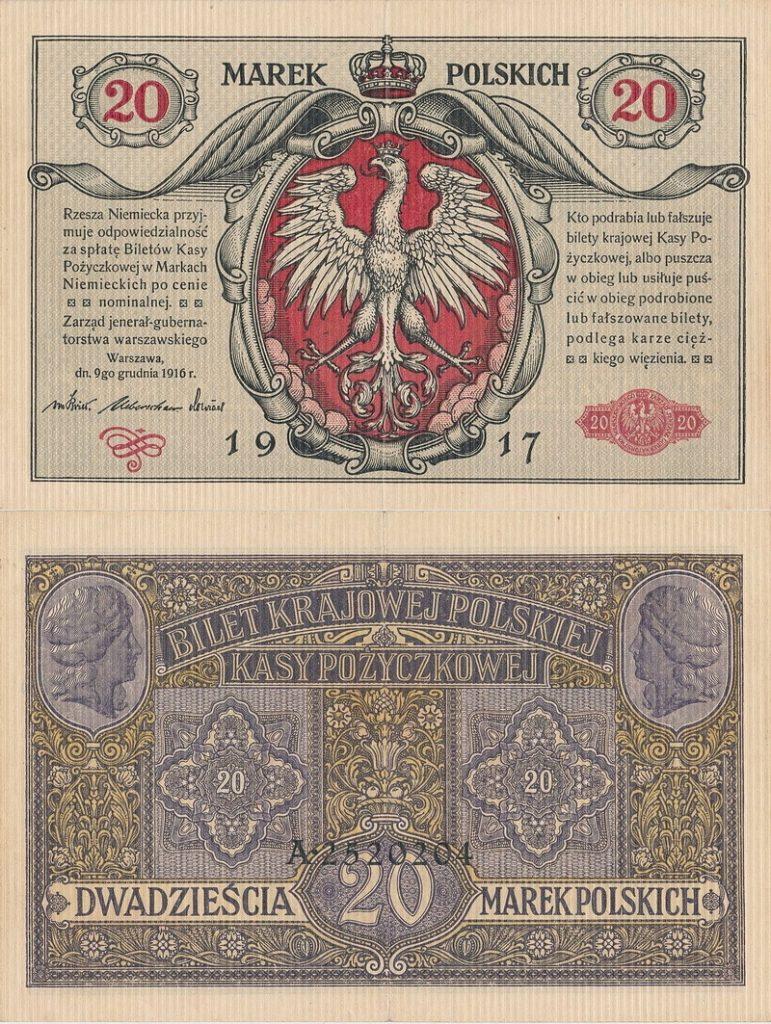 Awers i rewers banknotu 20-markowego z grudnia 1916 roku (domena publiczna).