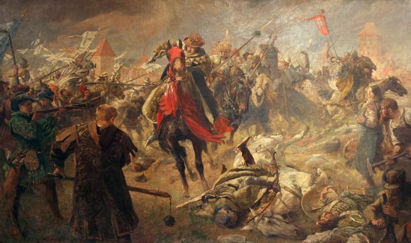 Bitwa pod Chojnicami na obrazie Fritza Grotemeyera (Wisielec.97/CC BY-SA 4.0).