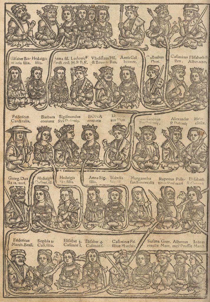 Fragment drzewa genealogicznego Jagiellonów z pracy Josta Ludwika Decjusza wydanej w 1521 roku. W pierwszym rzędzie widoczny Jagiełło oraz jego cztery żony