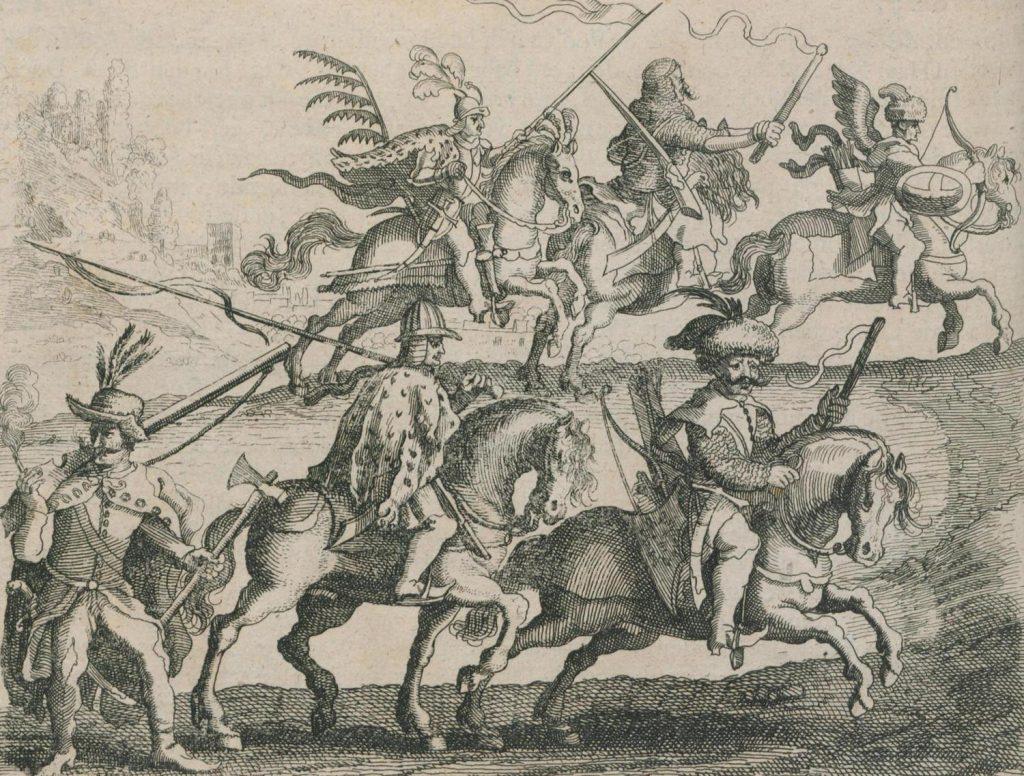 Husarz ze skrzydłami oraz bez na rycinie Abrahama van Bootha (domena publiczna).