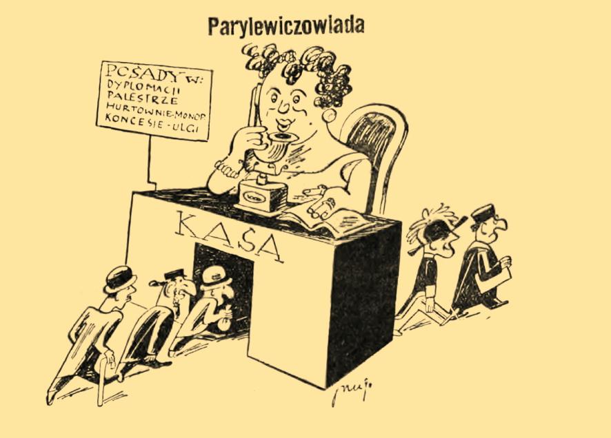 """Karykatura Wandy Parylewicz opublikowana przez prawicowy dziennik """"Orędownik"""" (domena publiczna)."""