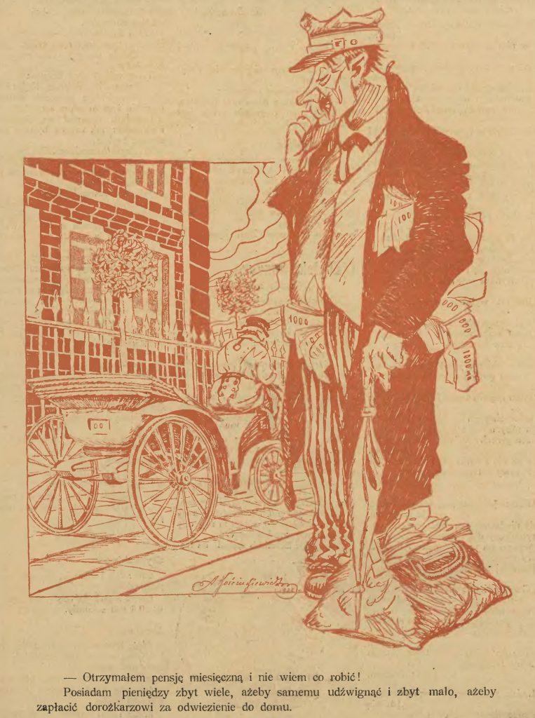 Karykatura z 1922 roku przedstawiająca skutki szalejącej hiperinflacji (A. Kościukiewicz/domena publiczna).