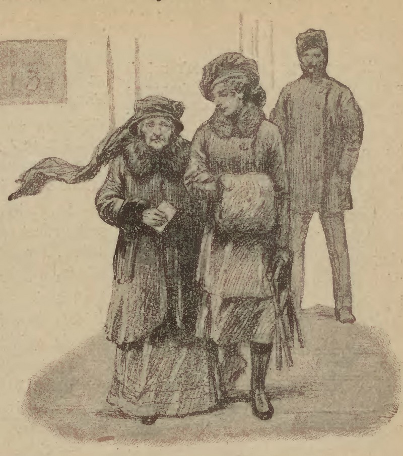 """Kobiety tłumnie wzięły udział w głosowaniu w 1919 roku. Tutaj rysunek z tygodnika """"Świat"""", który opatrzono podpisem """"Staruszka 80-letnia niesie swój głos"""" (Stanisław Stawiczewski/domena publiczna)."""