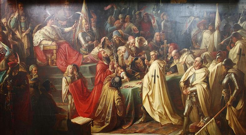 Podpisanie traktatu kończącego wojnę trzynastoletnią na obrazie Mariana Jaroczyńskiego (domena publiczna).