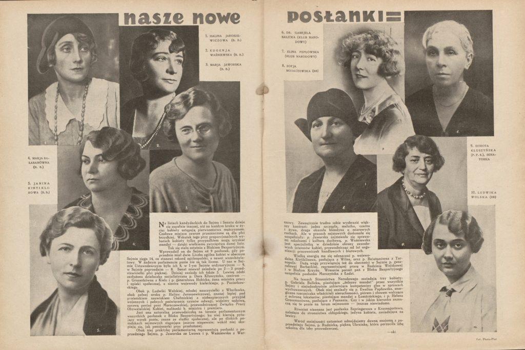 """Posłanki wybrane do ław sejmowych w 1930 roku w tygodniu """"Świat"""" (domena publiczna)."""