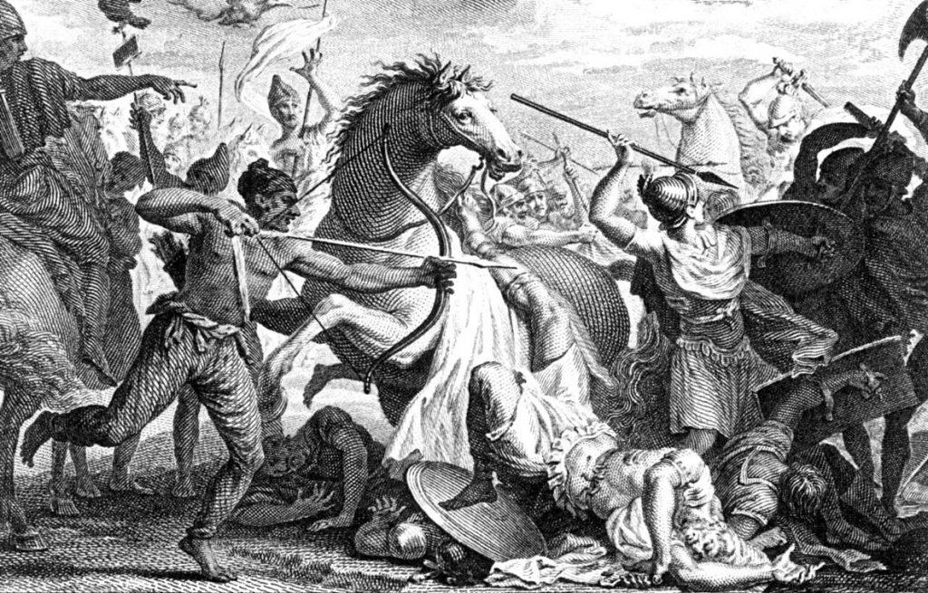Rzymianie mieli pierwszy raz spotkać się z jedwabiem  w bitwie pod Carrhae (domena publiczna).