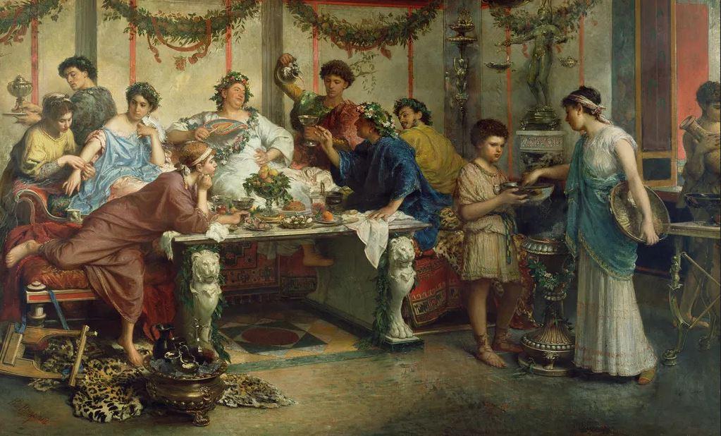Rzymska uczta na obrazie Roberto Bompianiego (domena publiczna).