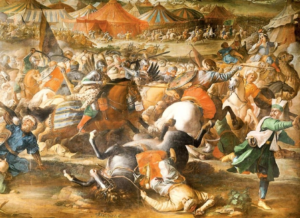 Skrzydlaty husarz na obrazie Marcina Altomonte Bitwa pod Wiedniem (domena publiczna).