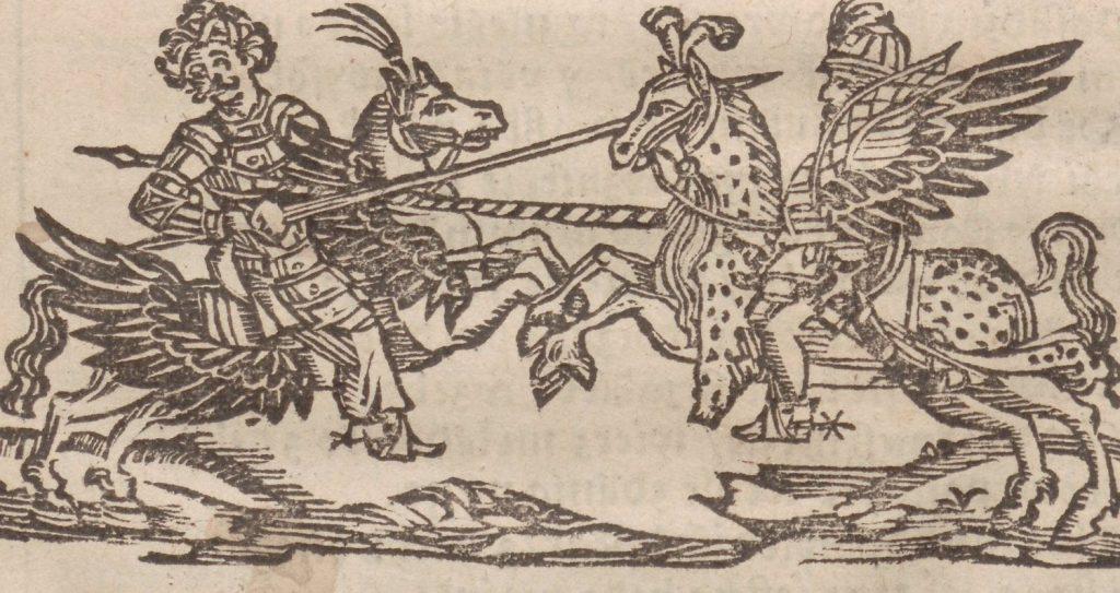 Skrzydlaty polski jeździec (po prawej) na rycinie z końca XVI wieku (domena publiczna).