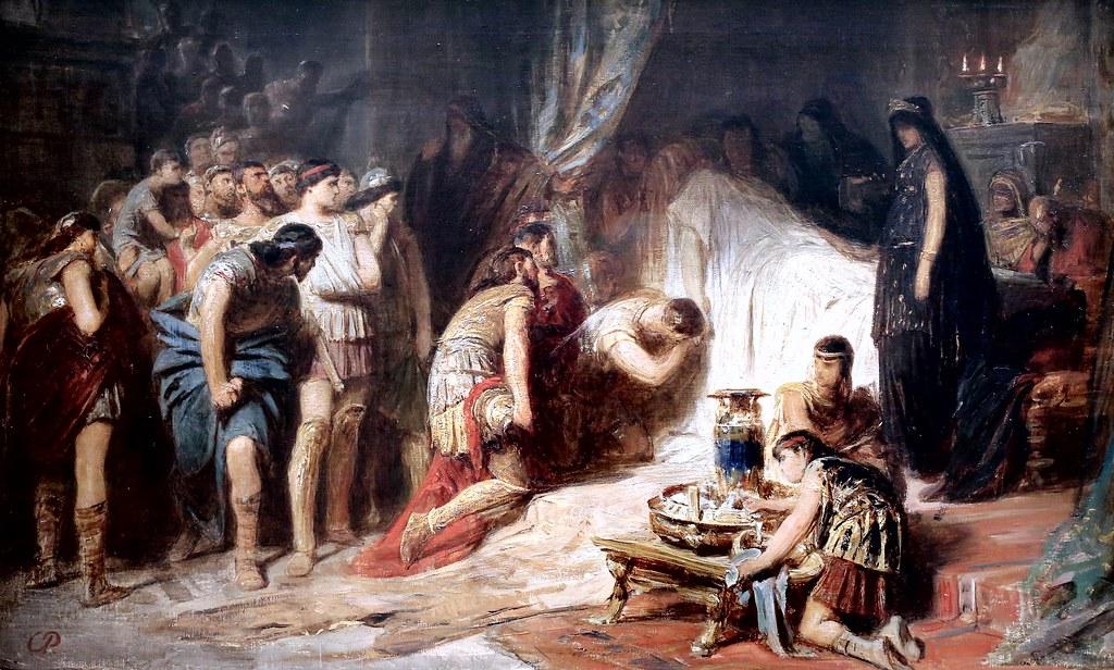 XIX-wieczne wyobrażenie śmierci Aleksandra Wielkiego (Karl von Piloty/domena publiczna).