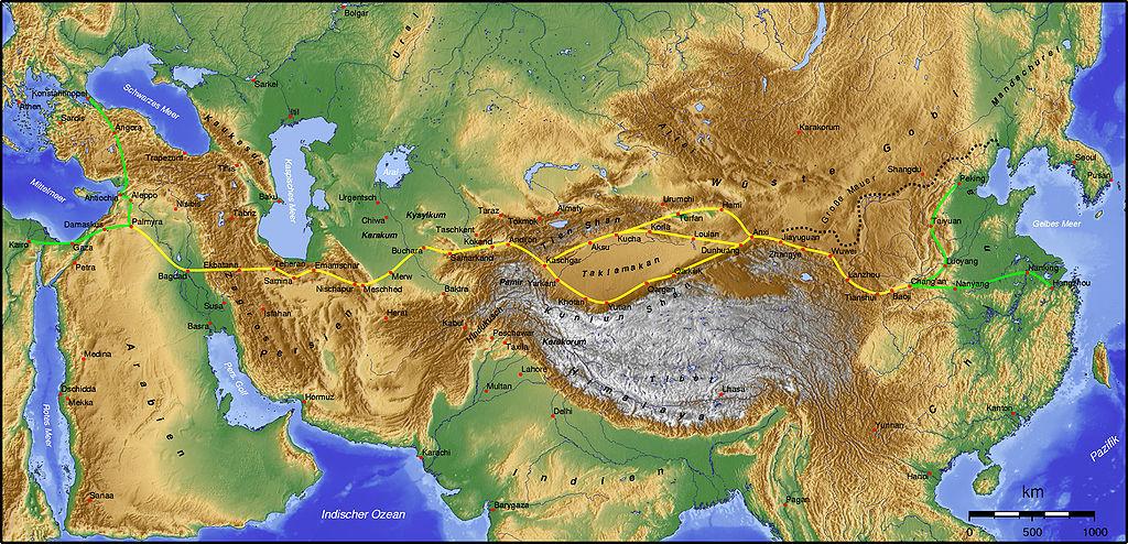 Tak wyglądała główna trasa Jedwabnego Szlaku (Captain Blood/CC BY-SA 3.0).