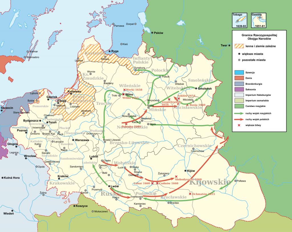 Wojna z Rosją, która rozpoczęła się w 1654 roku trwała aż trzynaście lat (Hoodinski/CC BY-SA 3.0).