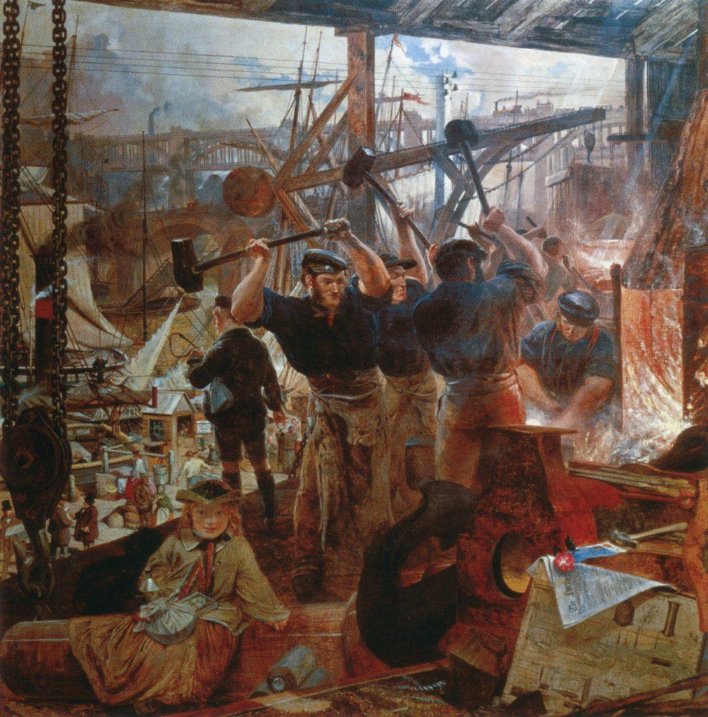 Niektórzy uczeni wskazują na to, że chociaż w XIX wieku wzrosła produkcja to realne dochody wcale się nie zwiększyły (William Bell Scott/domena publiczna).