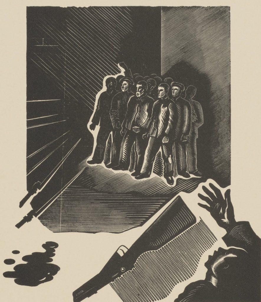Bunt w irkuckim więzieniu na rysunku Stanisława Ostoj-Chrostowskiego (domena publiczna).