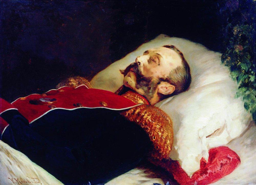 Car Aleksander II na łożu śmierci. Obraz Konstantina Makowskiego (domena publiczna).