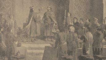 Bolesław Chrobry i Otton III w Gnieźnie. Wyobrażenie XIX-wieczne.