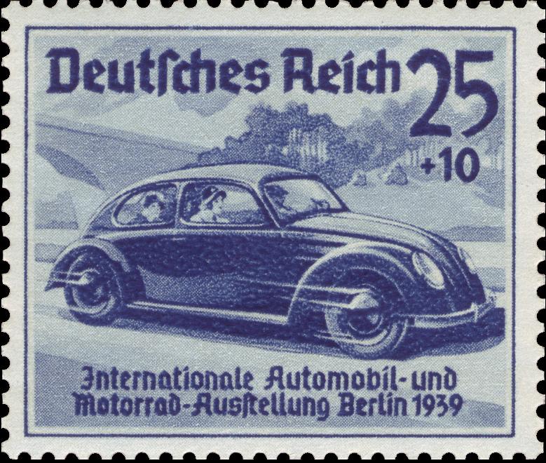Do momentu wybuchu wojny Niemcy uzbierali na książeczkach oszczędnościowych 275 milionów marek na swój wymarzony samochód. Pieniądze te przeznaczono później na zbrojenia. Na ilustracji  znaczek z 1939 roku przedstawiający samochód dla ludu (domena publiczna).