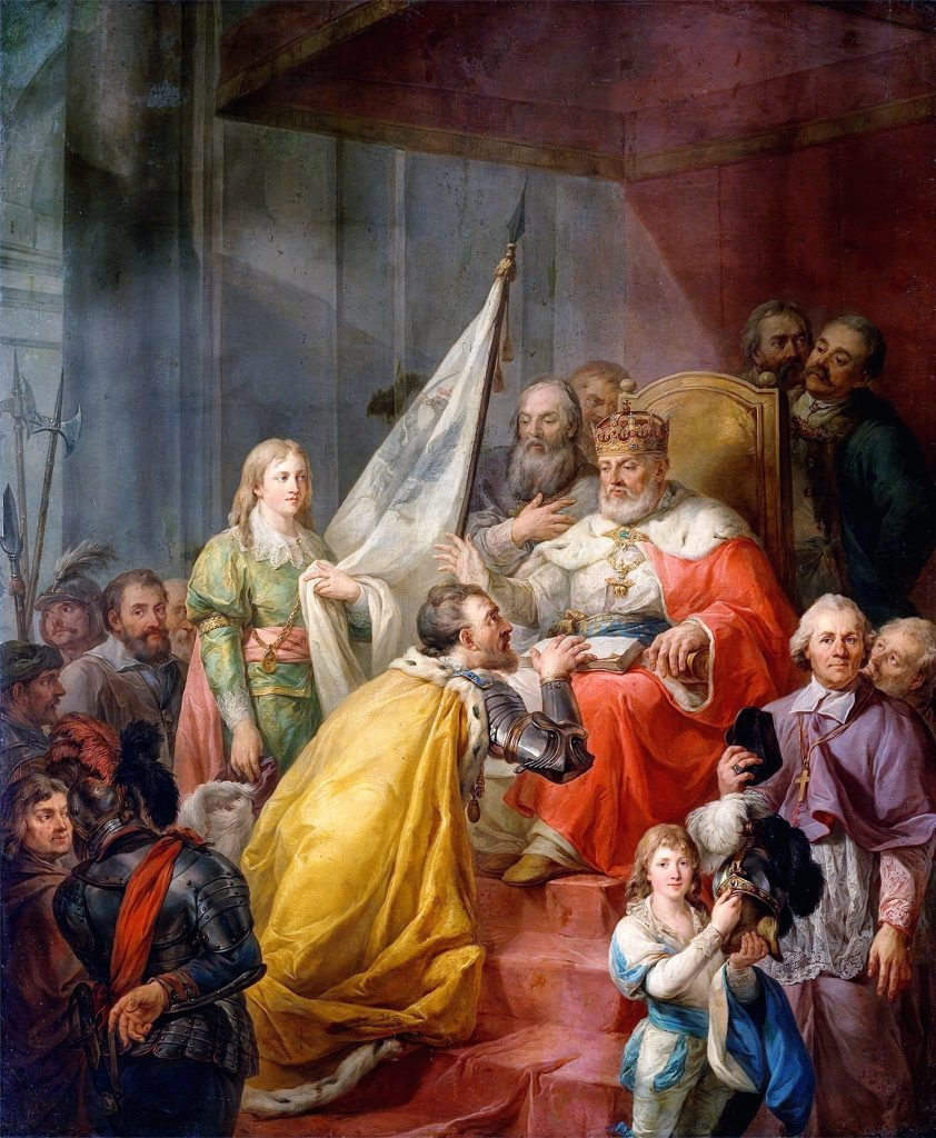 Hołd pruski na obrazie Marcello Bacciarellego (domena publiczna).