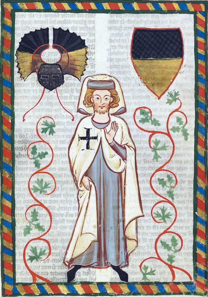 Krzyżakom zajęlo 50 lat zupełne zgniecenie Prusów. Na ilustracji przedstawienie rycerza zakonnego z przełomu XIII i XIV wieku (domena publiczna).