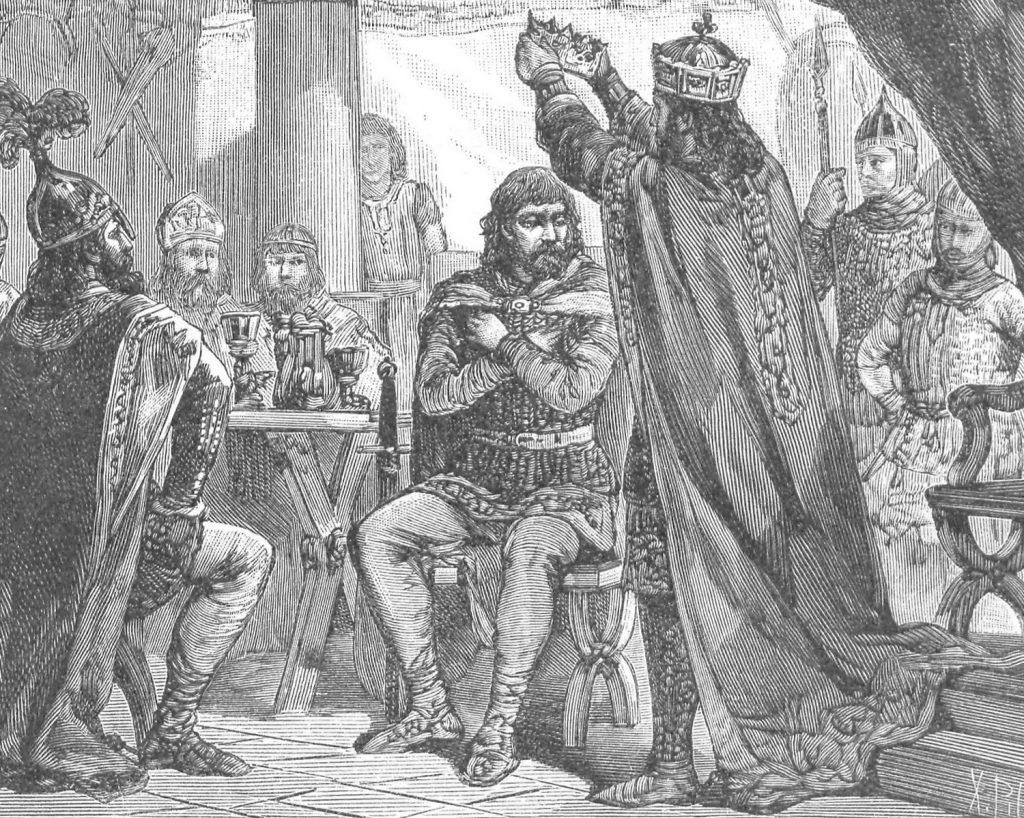 Tak Ksawery Pillati wyobrażał sobie koronację Bolesława Chrobrego przez cesarza Ottona III (domena publiczna).