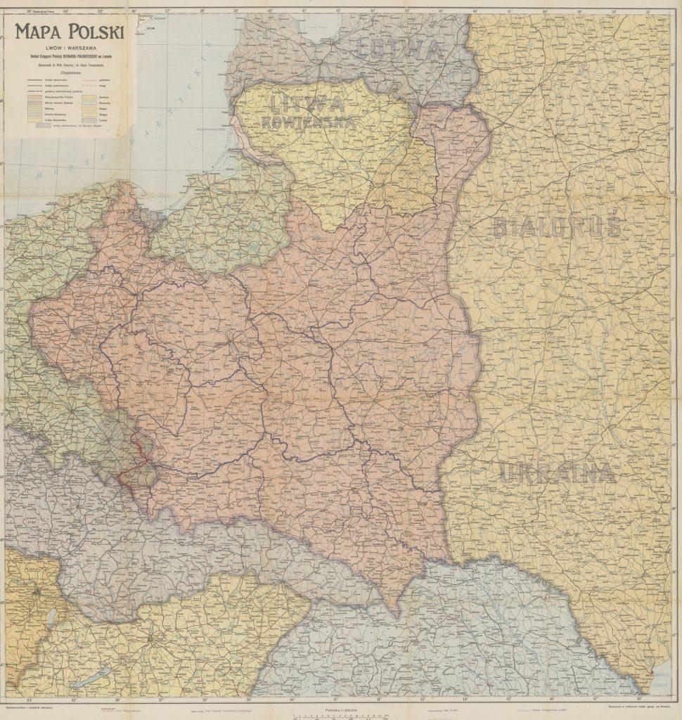 Mapa Polski z początu lat 20. XX wieku. Widać wydzieloną Litwę Środkową (Wilhelm Pokorny/domena publiczna).