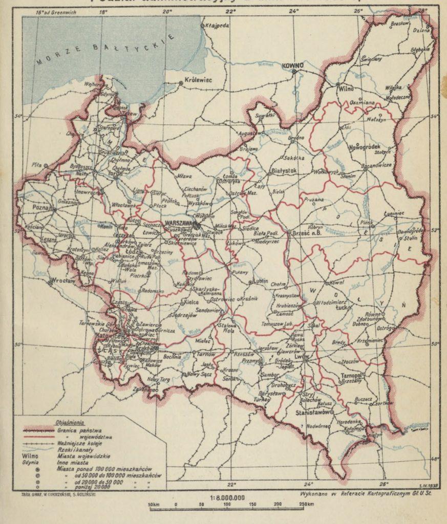 Mapa Polski z podziałem administracyjnym na dzień 1 kwietnia 1939 roku (domena publiczna).