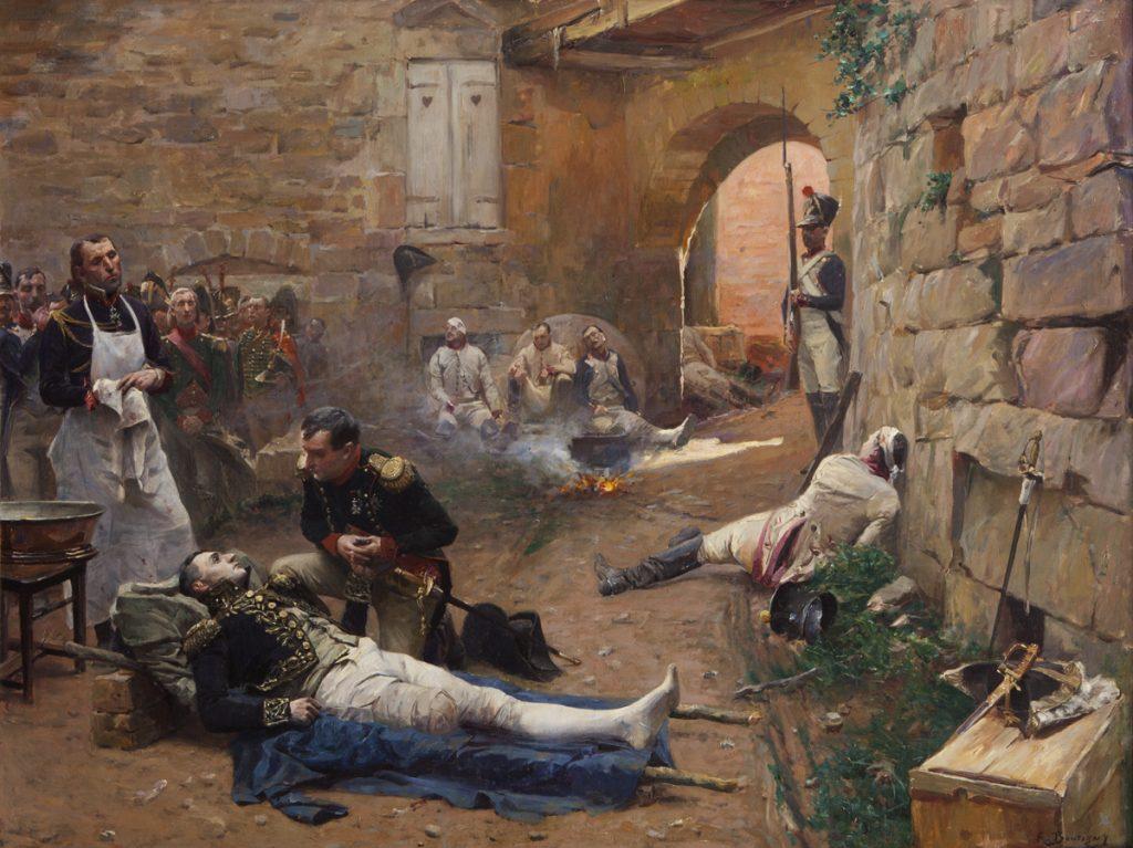 Napoleon odwiedza rannego pod Essling przyjaciela marszałka Jeana Lannesa (Paul-Émile Boutigny/domena publiczna).