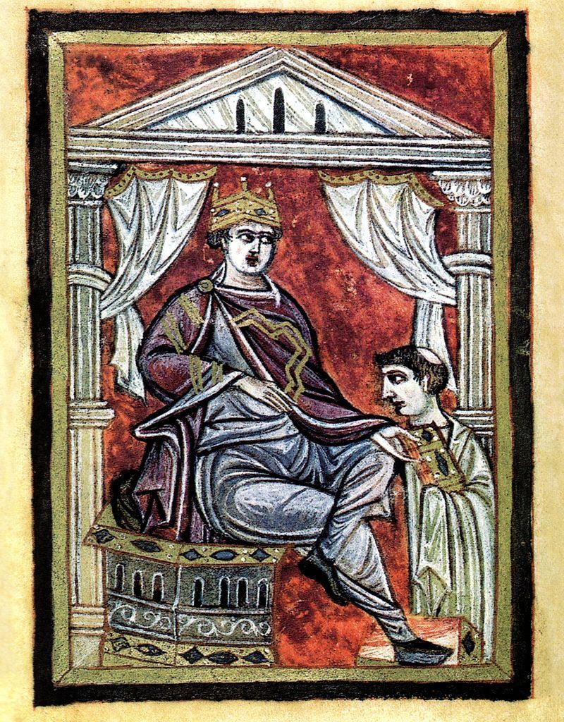 Nawet cesarz Otton III nie wiedział jakby miała wyglądać koronacja nowego, nie-niemieckiego króla,(domena publiczna).