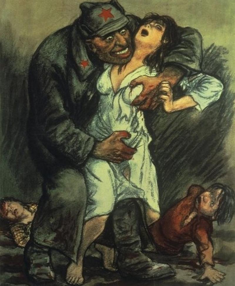 Niemiecki plakat propagandowy z 1944 roku, ktróy pokazywał jaki los mieli zgotować Polkom czerwonoarmiści. W wielu przypadkach faktycznie tak się stało (domena publiczna).