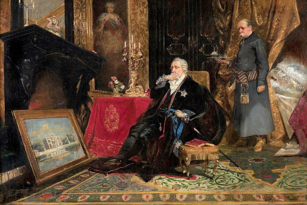 Obraz Jana Czesława Moniuszki Król Stanisław August Poniatowski w Petersburgu (domena publiczna).