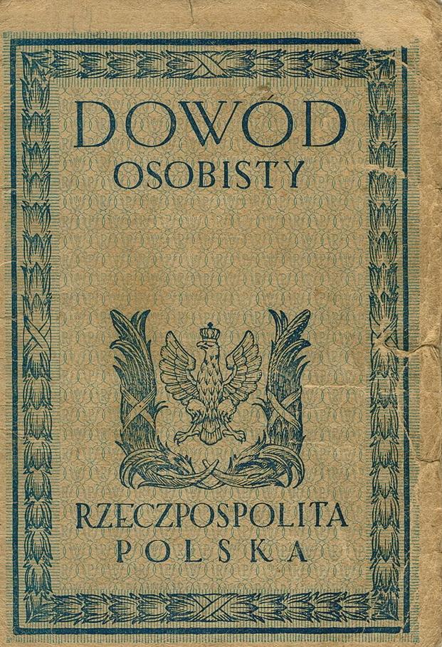 Okładka dowodu osobistego z lat 20. XX wieku (domena publiczna).