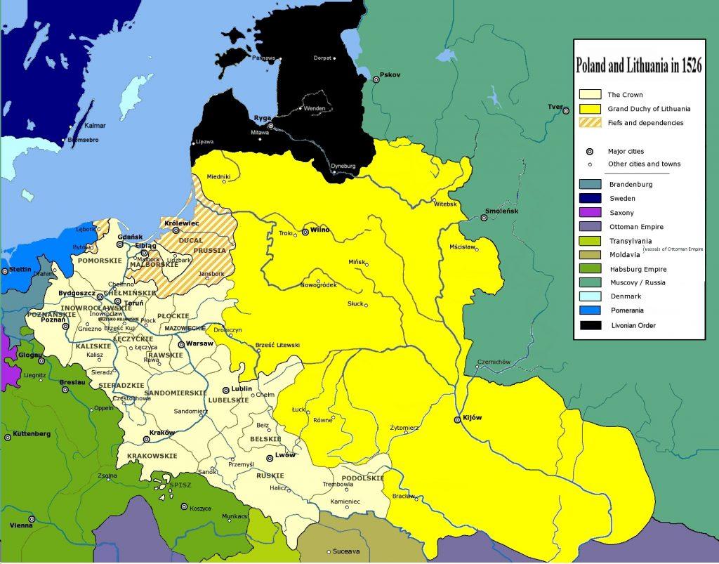 Polska i Litwa w 1526 roku (Mathiasrex/CC BY 3.0).