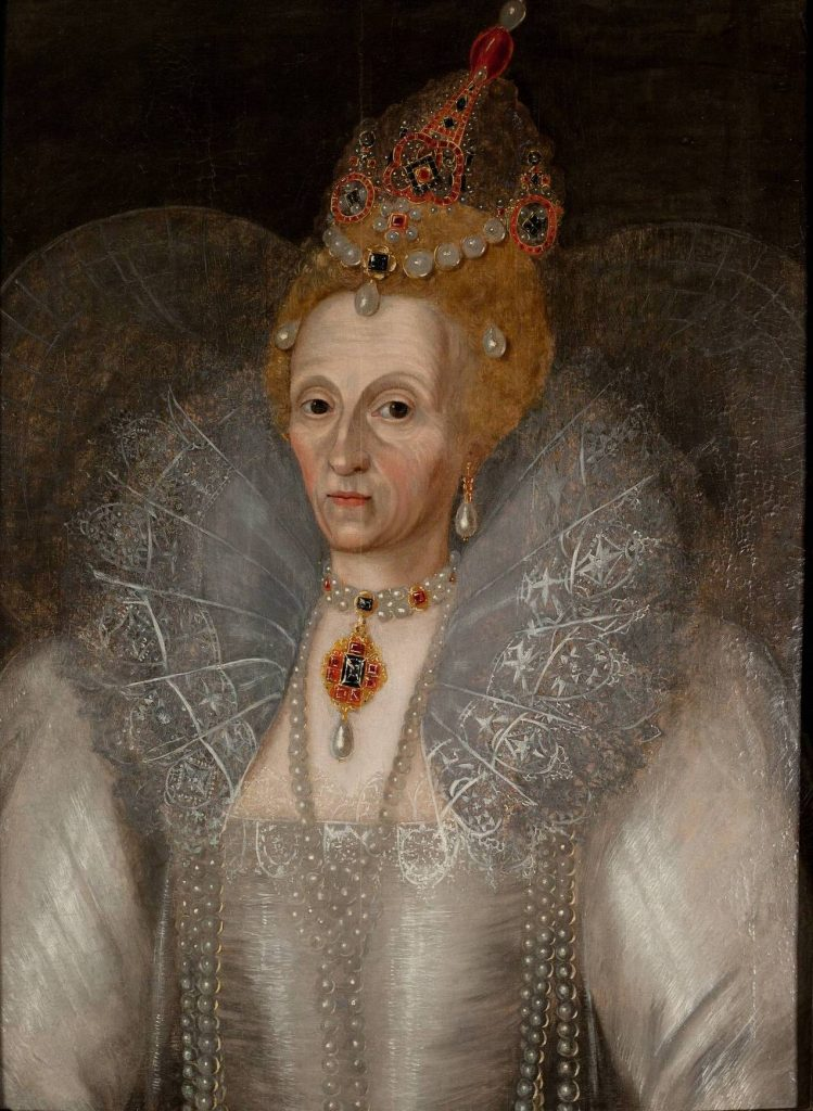 Portret Elżbiety I z około 1595 roku autorstwa Marcusa Gheeraertsa starszeego. W tym czasie władczyni była już znana ze swoich problemów z uzębieniem (domena publiczna).