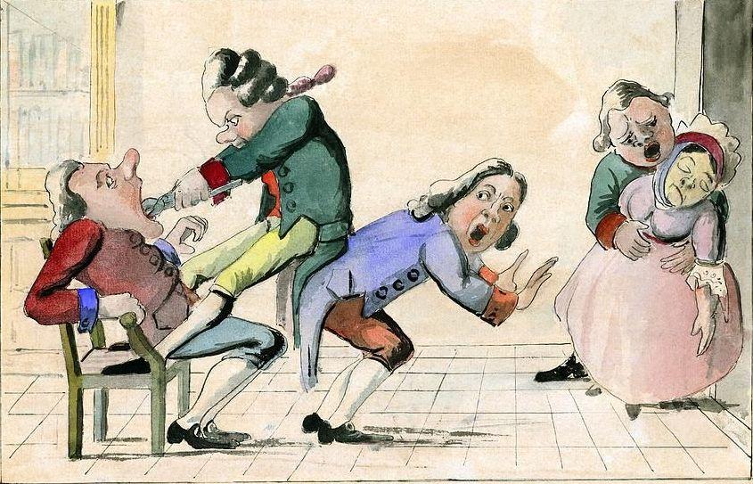 Rodzina Crawcourowów zaczęła swoją przygodę z leczeniem zębów w XVIII-wiecznejj Francji. Na i lustracji karykatura z epoki przedstawiająca dentystę przy pracy (domena publiczna).