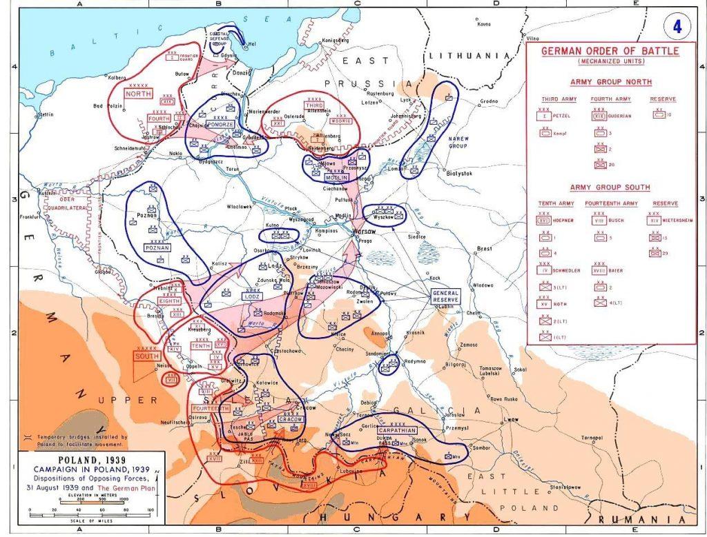 """Rozmieszczenie oraz kierunki ataku niemieckich wojsk w ramach """"Fall Weiss"""" (domena publiczna)."""
