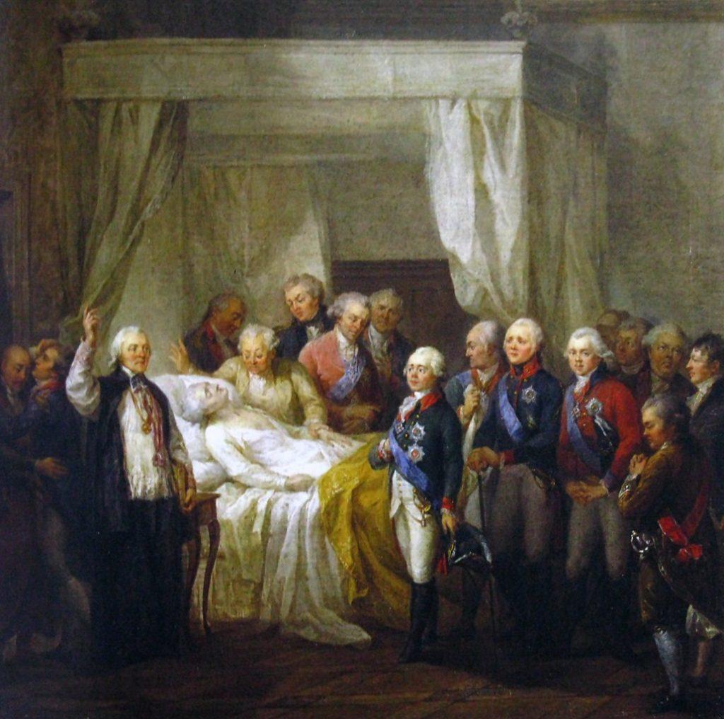 Śmierć Stanisława Augusta Poniatowskiego na obrazie Marcello Bacciarellego (domena publiczna).