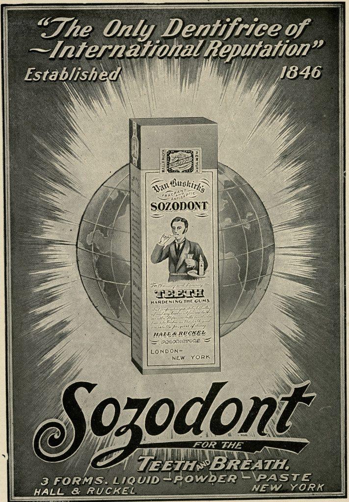 Reklama Sozodontu z końca XIX wieku (domena publiczna).