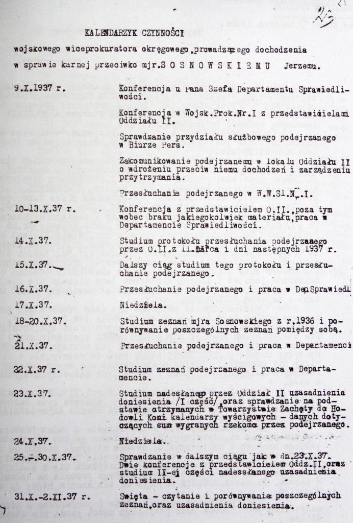"""Jedna ze strona """"Kalendarzyka czynności"""" prokuratora zajmującego się sprawą majora Sosnowskiego (LukaszKatlewa/CC BY-SA 4.0)."""