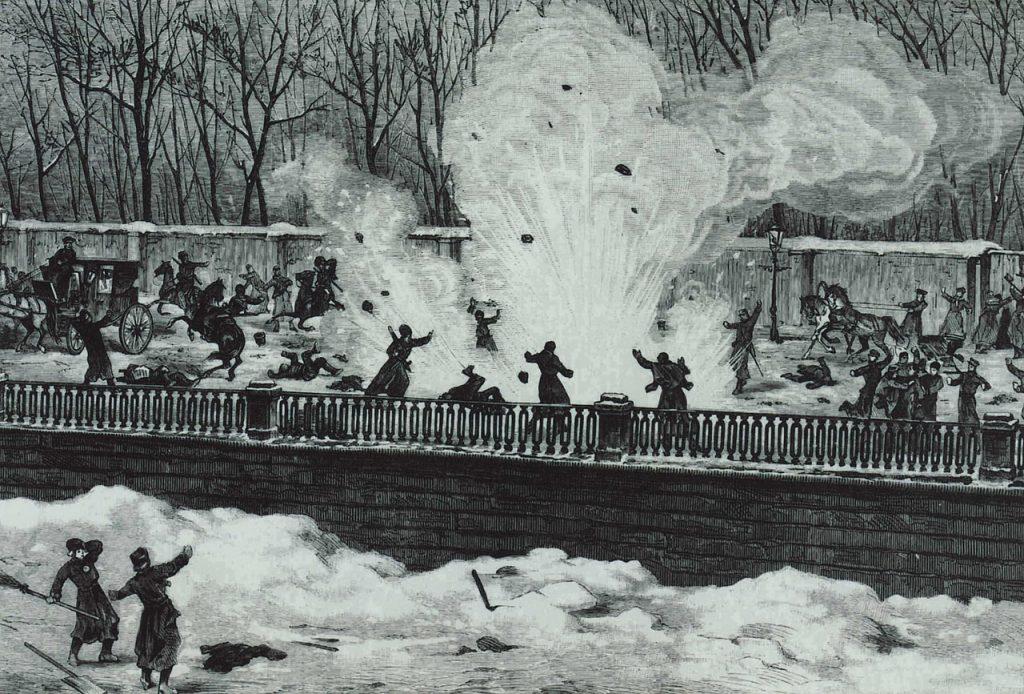 Wybuch bomby rzuconej przez Hryniewieckiego pod nogi cara Aleksandra II (domena publiczna).