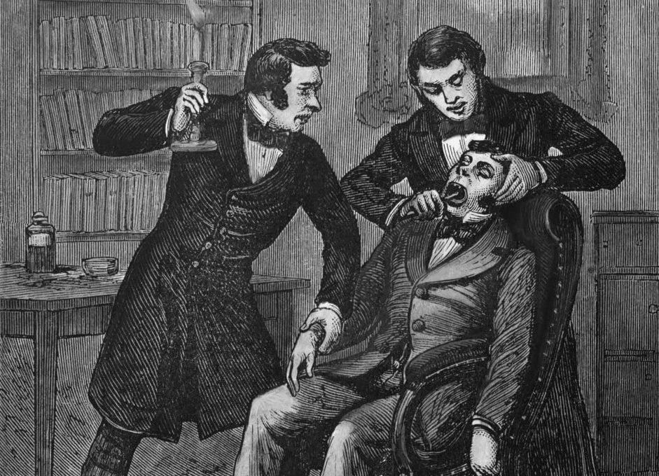 XIX-wieczni amerykańscy dentyści byli przez długi czas przeciwnikami amalgamatu. Ilustracja poglądowa (domena publiczna).