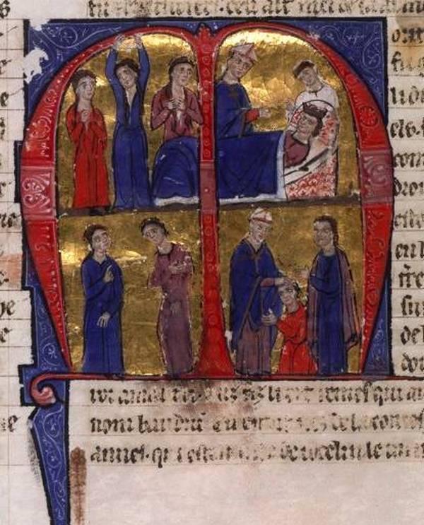 Baldwin IV został królem w wieku zaledwie 13 lat. Na ilustracji śmierć ojca Baldwina i koronacja nastolatka (domena publiczna).