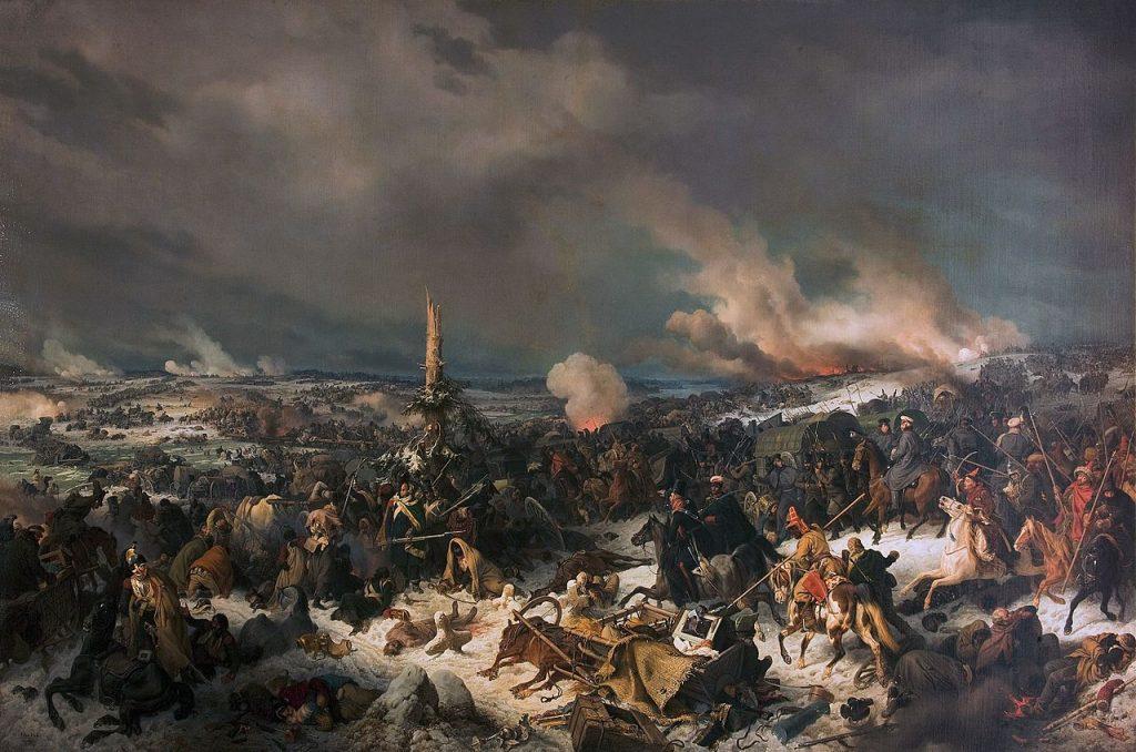 Bitwa nad Berezyną na obrazi Petera von Hessa (domena publiczna).
