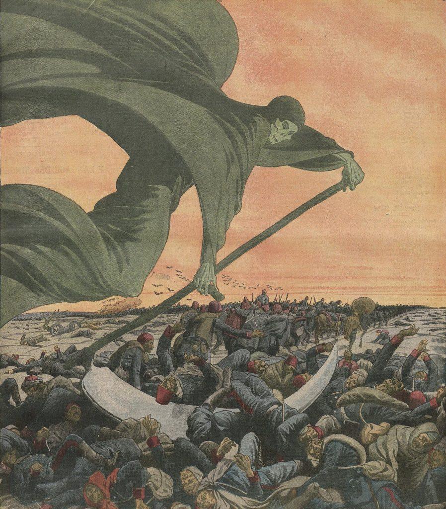 Cholera zbierająca swoje mordercze żniwo na ilustracji z 1912 roku (domena publiczna).