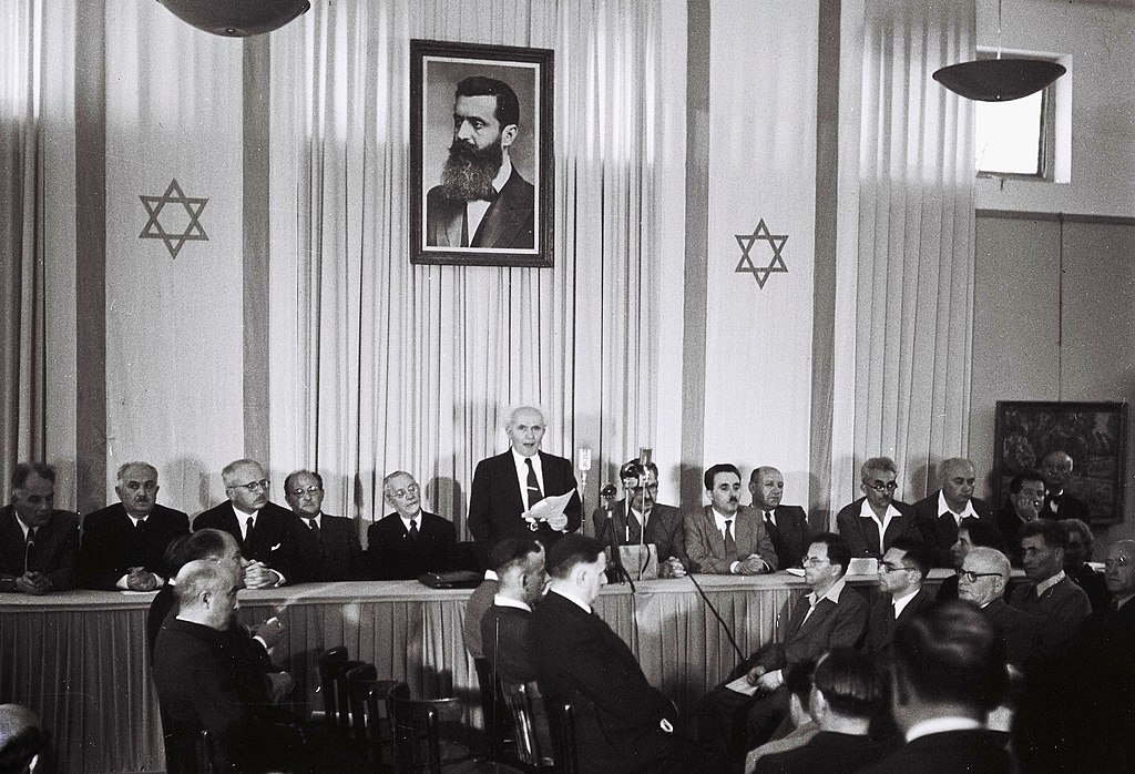 Dawid Ben Gurion ogłasza utworzenie państwa Izrael. 14 maja 1948 roku.