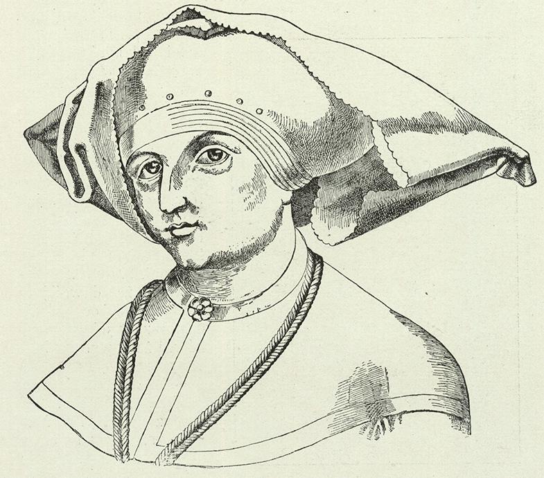 Jadwiga Andegaweńska jako małżonka księcia Wilhelma. Portret przerysowany ze zbiorczego drzewa genealogicznego Habsburgów.