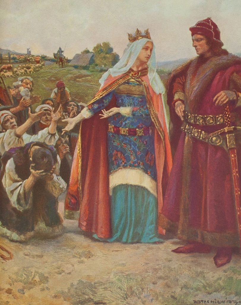 Jadwiga i Jagiełło tylko na obrazek byli zgodną parą. W życiu sytuacja wyglądała zupełnie inaczej (Piotr Stachiewicz/domena publiczna).
