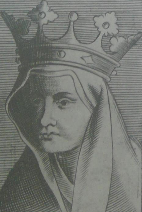 Królowa żująca, albo bardzo zniesmaczona. Portret Jadwigi Andegaweńskiej z 1648 roku zamieszczony we francuskim dziele Le Roys et Prince.