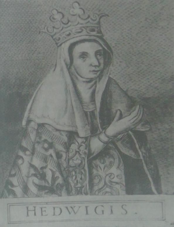Królowa Jadwiga. Portret z 1591 roku wykonany przez Tomasza Tretera i zamieszczony w dziele Regum Poloniae icones.
